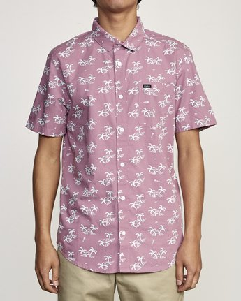 0 EASY PALMS BUTTON-UP SHIRT Purple M5191REP RVCA