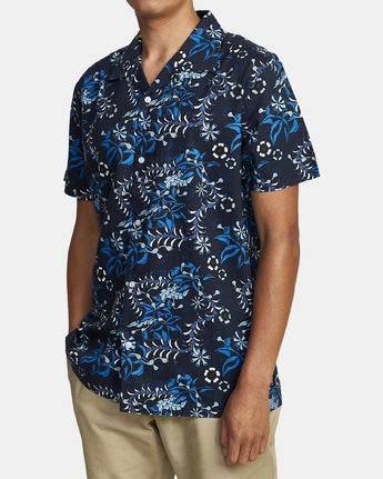 3 TROPICAL DMOTE SHORT SLEEVE SHIRT Blue M5202RTD RVCA