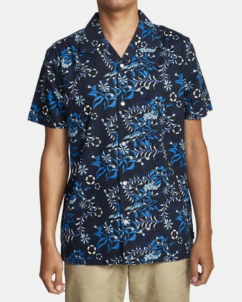 4 TROPICAL DMOTE SHORT SLEEVE SHIRT Blue M5202RTD RVCA