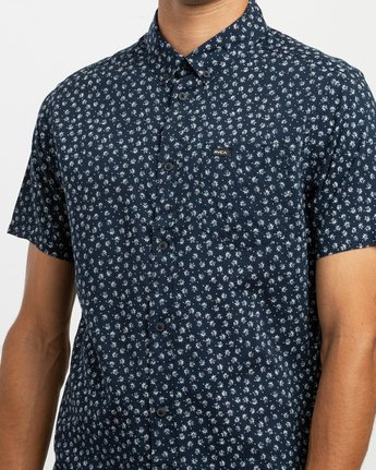 4 Ficus Floral Button-Up Shirt Blue M520TRBF RVCA