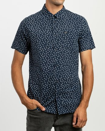 1 Ficus Floral Button-Up Shirt Blue M520TRBF RVCA