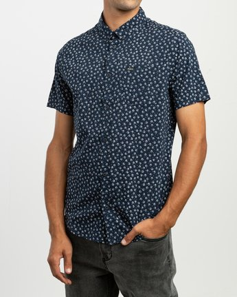 2 Ficus Floral Button-Up Shirt Blue M520TRBF RVCA
