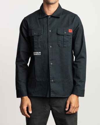 1 Smith Street Long Sleeve Shirt Black M550VRSS RVCA