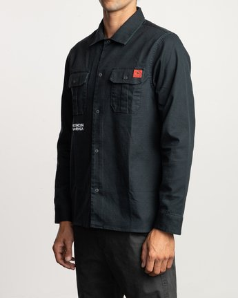3 Smith Street Long Sleeve Shirt Black M550VRSS RVCA
