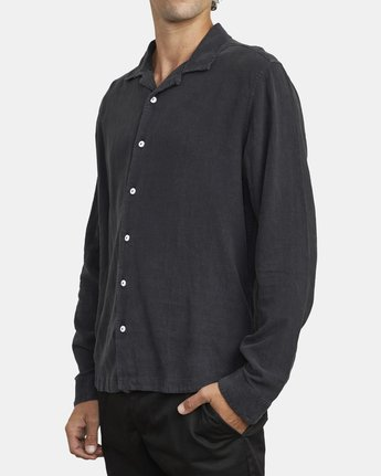 3 BEAT LONG SLEEVE SHIRT Black M5513RBL RVCA