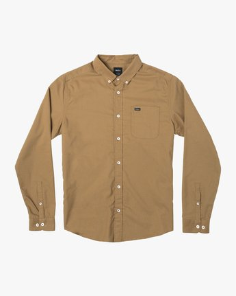 4 THATLL DO STRETCH LONG SLEEVE SHIRT Brown M551VRTD RVCA