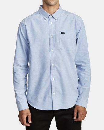 4 THATLL DO STRETCH LONG SLEEVE SHIRT Blue M551VRTD RVCA