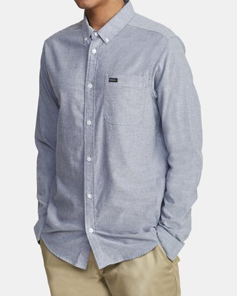 7 THATLL DO STRETCH LONG SLEEVE SHIRT Blue M551VRTD RVCA
