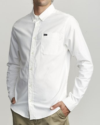 3 That'll Do Stretch Long Sleeve Shirt White M551VRTD RVCA