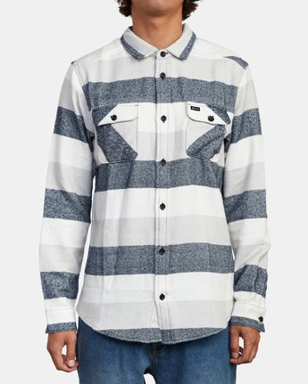 1 SHALLOWS STRIPE FLANNEL LONG SLEEVE SHIRT Orange M5523RSS RVCA