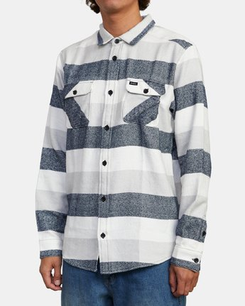 3 SHALLOWS STRIPE FLANNEL LONG SLEEVE SHIRT Orange M5523RSS RVCA