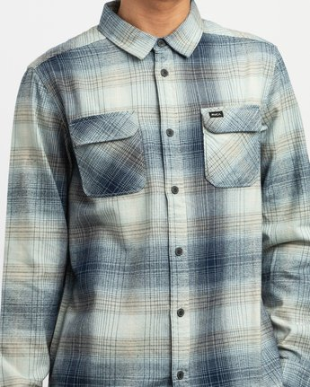 4 Muir Plaid Long Sleeve Flannel Blue M552TRMF RVCA