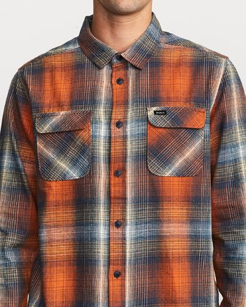 4 Muir Plaid Long Sleeve Flannel  Orange M552TRMF RVCA