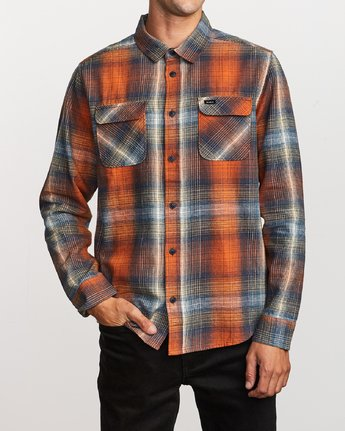 1 Muir Plaid Long Sleeve Flannel  Orange M552TRMF RVCA