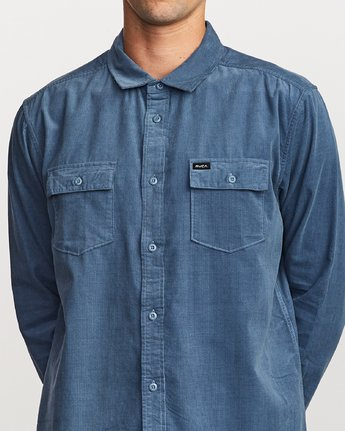 4 Freeman Corduroy Long Sleeve Shirt Blue M552VRFC RVCA