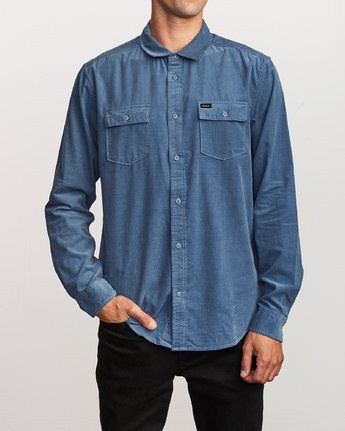 1 Freeman Corduroy Long Sleeve Shirt Blue M552VRFC RVCA