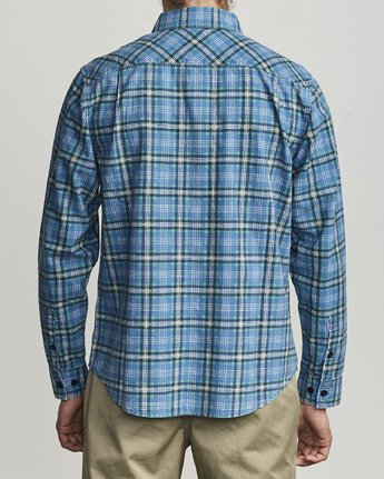 1 PANHANDLE BUTTON-UP FLANNEL Blue M5531RPH RVCA