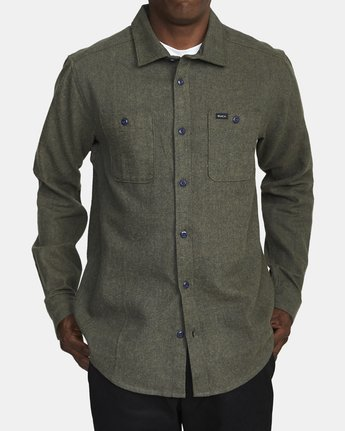 1 HARVEST LONG SLEEVE FLANNEL Green M5533RHF RVCA
