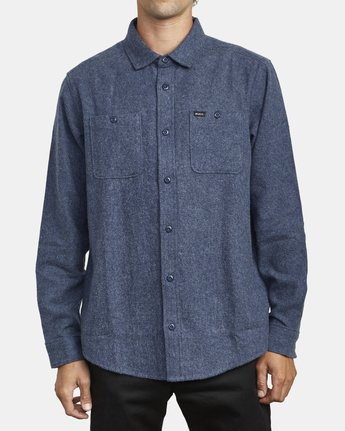 1 HARVEST LONG SLEEVE FLANNEL Blue M5533RHF RVCA