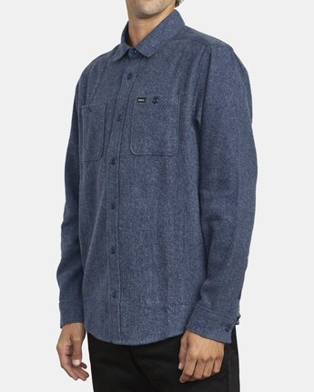 3 HARVEST LONG SLEEVE FLANNEL Blue M5533RHF RVCA