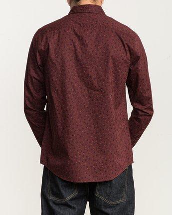 3 Vu Long Sleeve Button-Up Shirt Red M553SRVU RVCA