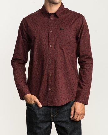 1 Vu Long Sleeve Button-Up Shirt Red M553SRVU RVCA