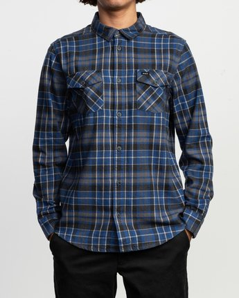 2 Watt Plaid Long Sleeve Flannel Blue M553TRWF RVCA