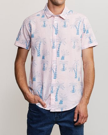 2 Liu-Wong Palms Button-Up Shirt Pink M553URLP RVCA