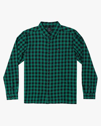 0 TELEGRAPH BUTTON-UP FLANNEL Green M5541RTG RVCA