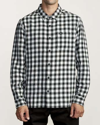 0 TELEGRAPH BUTTON-UP FLANNEL Black M5541RTG RVCA