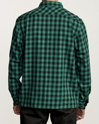 2 TELEGRAPH BUTTON-UP FLANNEL Green M5541RTG RVCA