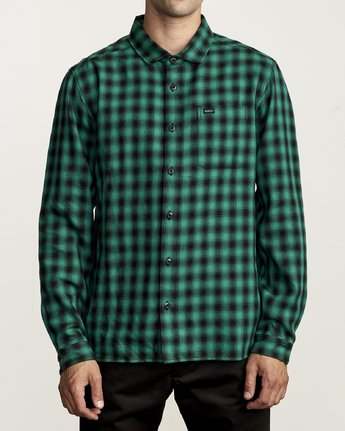 1 TELEGRAPH BUTTON-UP FLANNEL Green M5541RTG RVCA
