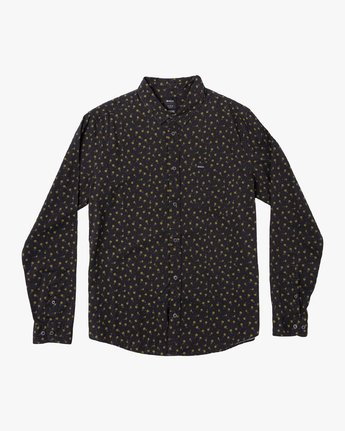3 Prelude Floral Long Sleeve Shirt Black M554VRPF RVCA