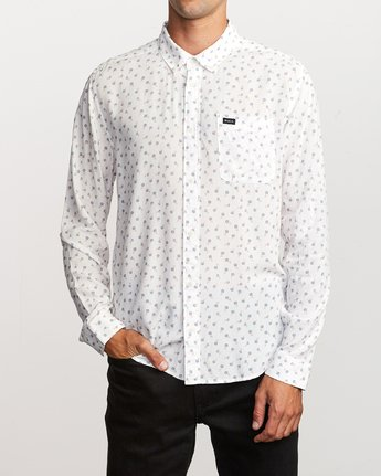 1 Prelude Floral Long Sleeve Shirt White M554VRPF RVCA