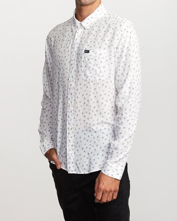 2 Prelude Floral Long Sleeve Shirt White M554VRPF RVCA