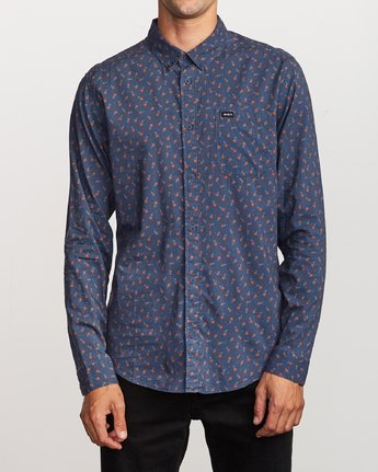1 Prelude Floral Long Sleeve Shirt Blue M554VRPF RVCA