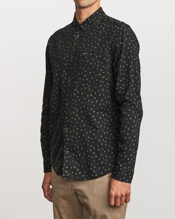 2 Prelude Floral Long Sleeve Shirt Black M554VRPF RVCA