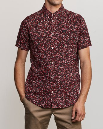 1 Revivalist Floral Button-Up Shirt Red M556URRF RVCA