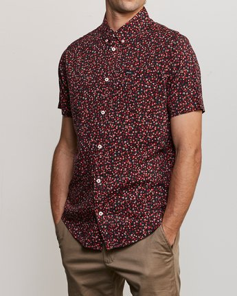 2 Revivalist Floral Button-Up Shirt Red M556URRF RVCA