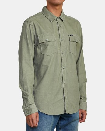 4 FREEMAN CORD LONG SLEEVE SHIRT Green M5583RFC RVCA
