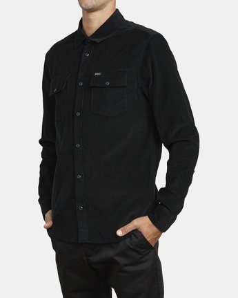 2 FREEMAN CORD LONG SLEEVE SHIRT Black M5583RFC RVCA