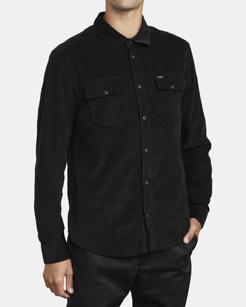 3 FREEMAN CORD LONG SLEEVE SHIRT Black M5583RFC RVCA
