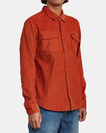 5 FREEMAN CORD LONG SLEEVE SHIRT Red M5583RFC RVCA