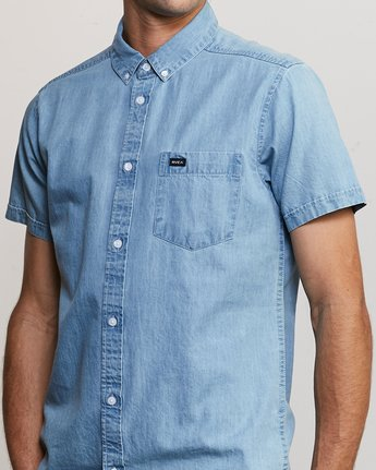 4 Dead Flag Washed Button-Up Shirt Blue M559URDF RVCA