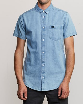 1 Dead Flag Washed Button-Up Shirt Blue M559URDF RVCA