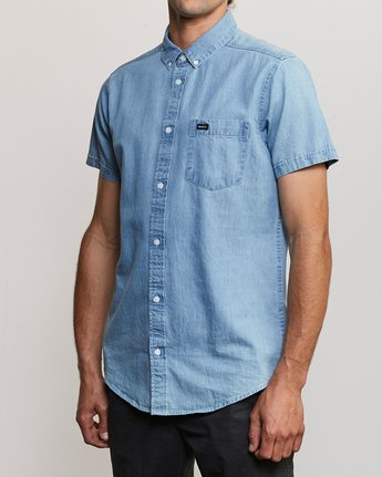 2 Dead Flag Washed Button-Up Shirt Blue M559URDF RVCA