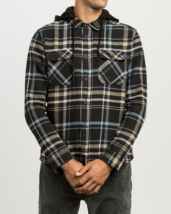 1 Essex Plaid Hooded Flannel Black M561SRSW RVCA