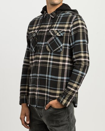 2 Essex Plaid Hooded Flannel Black M561SRSW RVCA