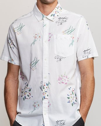 3 AR Lottie Flowers Button-Up Shirt White M561URAL RVCA