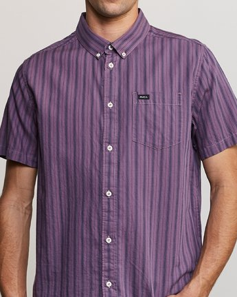 4 Shuffle Stripe Button-Up Shirt Purple M564URAS RVCA